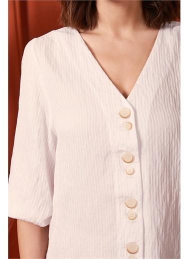 Never More Düğme Detaylı Beyaz Keten Gömlek Beyaz